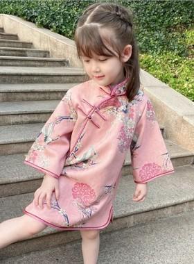 女童旗袍秋款改良洋气中小童中国风文艺连衣裙宝宝唐装儿童礼服