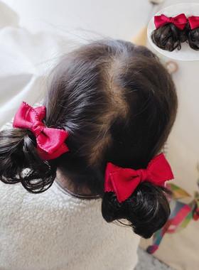 宝宝假发头饰品短卷造型公主宝宝儿童女蝴蝶结苞可爱汉服唐装配饰