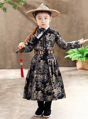 男童汉服中国风男孩古装明制飞鱼服古风童装锦衣卫演出服唐装长袍
