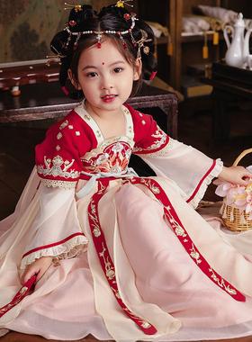 旗铂汉服女童秋冬儿童超仙襦裙中国风唐装宝宝古装古风连衣裙红妆