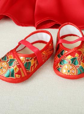 宝宝手工绣花鞋软底鞋婴儿步前鞋老北京鞋中国风百天周岁唐装鞋