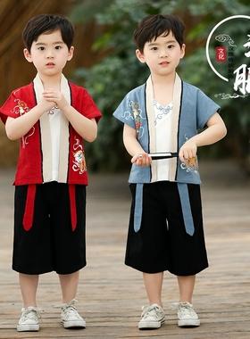 汉服男童夏装儿童中国风古装周岁衣服表演服宝宝夏季唐装短袖套装