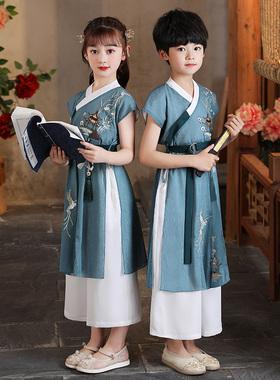 汉服女童古装中国风2021新款夏季薄款儿童装夏装古风超仙男童唐装