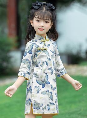 儿童长袖旗袍2021秋装新款女童中国风唐装连衣裙宝宝汉服纯棉旗袍