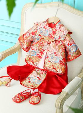 女宝宝周岁礼服婴儿百日宴中式周岁旗袍秋装加绒冬季定制抓周唐装