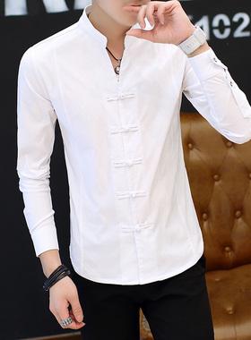 长袖衬衫男2021秋季新款中国风男装个性立领唐装潮流休闲青年上衣
