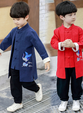 汉服男童唐装儿童古装礼服套装2021新款春秋小男孩中国风童装宝宝