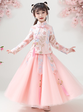 儿童汉服女童春秋装超仙中国风古装秋冬公主长袖旗袍女孩唐装秋季