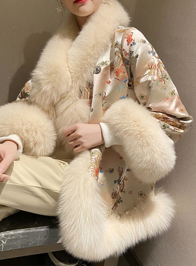 2021新款韩版仿狐狸毛斗篷皮草外套女中国风钉珠唐装海宁大衣冬季