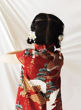 宝宝旗袍女童汉服夏季儿童唐装连衣裙民国小童古装周岁中国风春秋