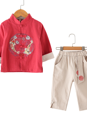儿童唐装男童汉服中国风套装薄款复古夏装长袖少爷服宝宝民族服装