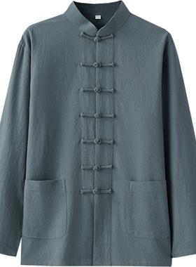 春秋棉麻中式唐装男士长袖外套复古盘扣中国风青年男装中老年上衣
