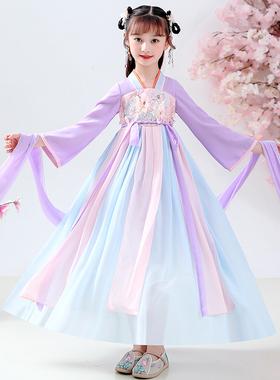 汉服女童春夏季儿童宝宝中国风古装连衣裙超仙公主裙唐装服饰秋季