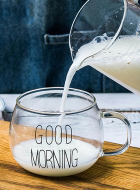 网红玻璃杯家用带把水杯可爱女大容量酸奶咖啡杯牛奶燕麦早餐杯