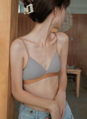馨帮帮Bra 螺纹棉撞色学生小胸胸罩舒适无钢圈少女文胸三角杯内衣