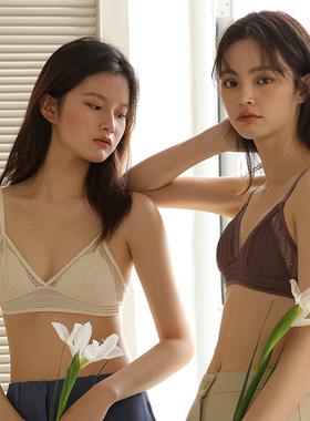 超薄法式内衣三角杯蕾丝少女夏薄款无钢圈性感显小胸聚拢文胸胸罩