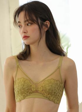 薄款蕾丝法式内衣三角杯少女夏季无钢圈性感大胸显小聚拢文胸胸罩