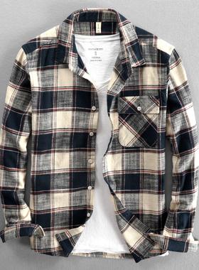 秋冬加厚纯棉长袖格子衬衫外套男士休闲宽松布料质感男装厚款上衣