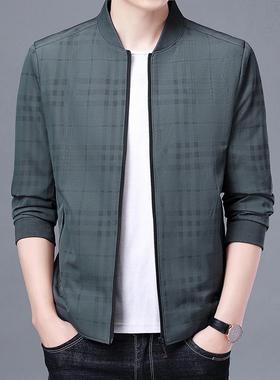新款精品面料轻奢稳重帅气爸爸条纹夹克秋冬季男装外套上衣棒球服