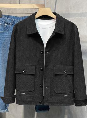 2021新款雪尼尔面料潮夹克上衣复古怀旧绅士翻领工装外套男装秋冬