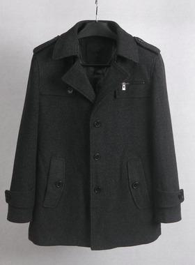 60羊毛混纺面料男士中长款秋冬宽松上衣外套英伦翻领男装商务风衣