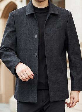 悦福记男装爸爸装秋冬季翻领夹克中年外套中老年茄克衫上衣厚面料