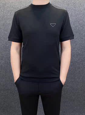 欧洲站21年秋冬款莫代尔面料圆领套头百搭潮男装上衣休闲短袖T恤