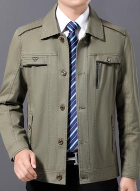 中年男士秋冬季男装薄款纯棉外套中老年人加绒夹克衫爸爸秋装上衣