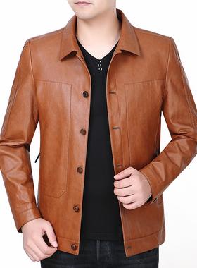 皮衣男士头层真皮中年上衣堡 利郎2021秋冬季新款潮夹克外套男装
