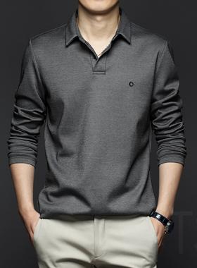 2021秋冬季男士长袖T恤纯棉POLO衫爸爸中年打底衫秋装男装上衣服