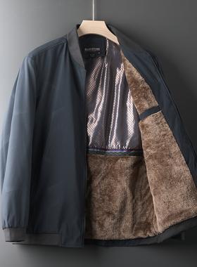 冬季中老年男士外套爸爸装加绒加厚夹克中年男装秋冬上衣50-60岁