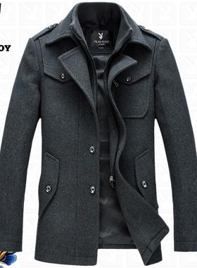 花花公子男装羊毛夹克中年男士呢子外套加厚秋冬季中长款休闲上衣