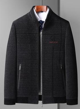 爸爸秋装外套秋冬季中年男士上衣厚款50岁60中老年人夹克休闲男装