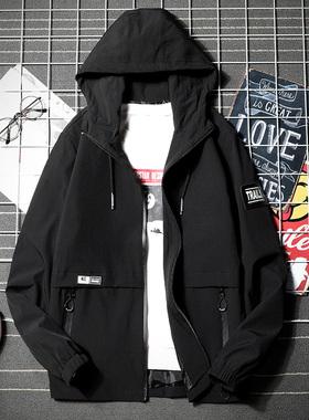 男士外套男春秋季新款韩版潮流连帽休闲夹克男装机能风工装上衣服