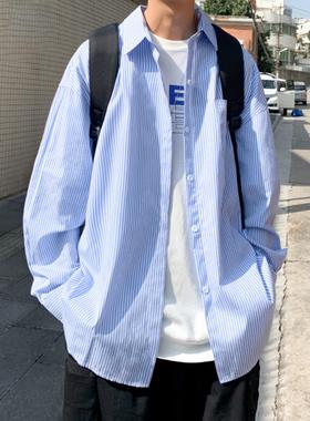 蓝色条纹衬衫男长袖秋季潮ins宽松休闲衬衣日系港风男装痞帅外套