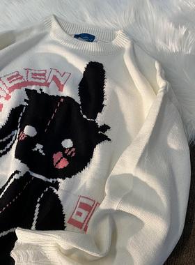 我只是有点累 兔子情侣毛衣复古日系慵懒风宽松男装ins超火针织衫