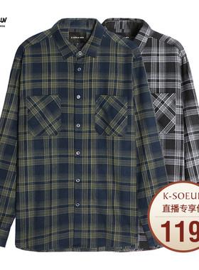 K姐男装 撞色格子衬衫 色织格纹新品时尚贴袋宽松显瘦衬衣男