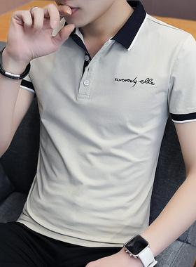 夏季新款短袖t恤男士韩版潮流男装polo衫翻领冰丝半袖上衣服衬衫
