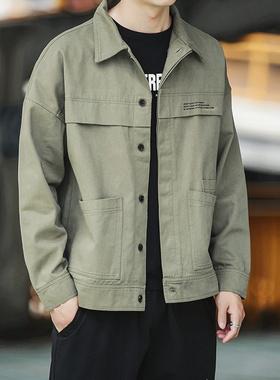 工装外套男春秋季男士纯棉翻领上衣衬衫秋款男装夹克潮流潮牌秋装