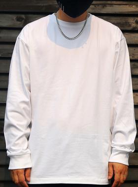 250g重磅纯棉t恤男长袖纯色内搭体恤宽松上衣男士白色打底衫潮INS