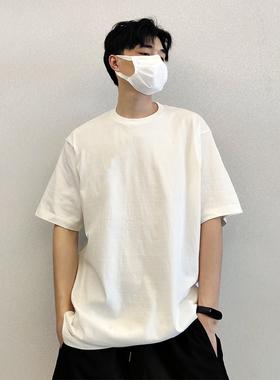 夏季潮流重磅纯棉纯色纯白百搭宽松内搭半袖短袖T恤男打底上衣服
