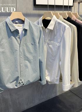 LUUD 秋新款净色简约翻领衬衫男士修身长袖衬衣休闲百搭外穿上衣