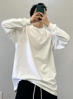 春秋潮牌纯棉白色纯色宽松叠穿打底衫长袖T恤男休闲内搭上衣服白t