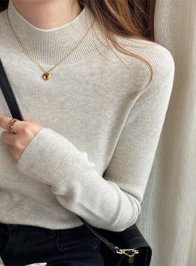 针织衫女春秋半高领打底衫内搭秋冬洋气羊绒毛衣2021年新款上衣