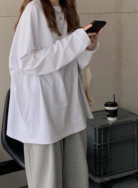 chic宽松长袖t恤女装外穿早秋衣内搭打底衫2021年新款白色上衣ins