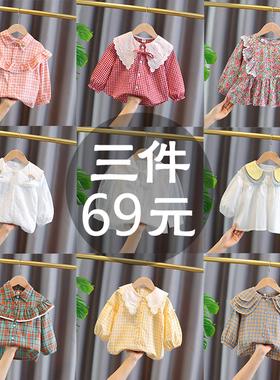 2021新款女童衬衫清仓春秋薄款女宝宝衬衣小女孩韩版长袖洋气上衣