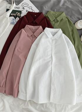 韩版纯色衬衫女中长款春季宽松上衣2021新款外穿百搭长袖港风衬衣