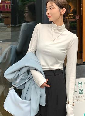 春秋莫代尔黑色半高领打底衫女内搭洋气大码长袖t恤白色高领上衣
