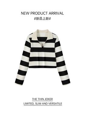 我是你的cc阿  海岛假日~秋季黑白条纹长袖t恤上衣撞色翻领polo衫