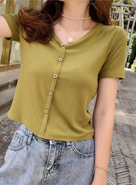 莫代尔短袖t恤女夏2021年新款半袖体恤高腰修身短款纯棉薄款上衣